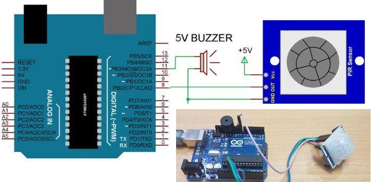 Arduino ve PIR sensör ile hareket kontrolü